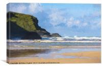 Windy Bedruthan Beach, Canvas Print