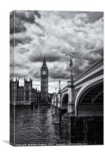 Big Ben and Westminster Bridge, London - B&W, Canvas Print