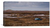 Boat on the salt marsh at Brancaster, Norfolk, Canvas Print