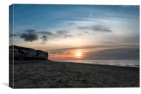 Sunset against the hunstanton cliffs, Norfolk, Canvas Print