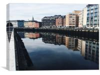 Riverside reflection in Cork City, Ireland, Canvas Print