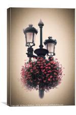 Geraniums on lamp post - Antique look., Canvas Print
