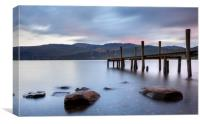 Jetty on Lake Coniston at sunset, Canvas Print