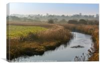 Misty View on the River Glaven North Norfolk, Canvas Print