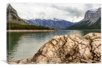 Weathered Rock on the Shore of Lake Minnewanka , Canvas Print