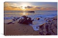 Sunset At Dollar Cove, Cornwall, Canvas Print