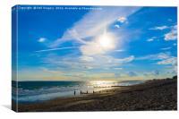 Beach Sun Set with Bright Blue Sky, Canvas Print