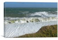 North Sea storm, high waves at Weybourne Norfolk, Canvas Print