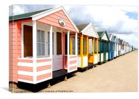 Colourfull Beach Huts at Southwold in Suffolk, Canvas Print