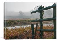 Misty River, broken fence! River Wensum Norfolk, Canvas Print