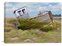 Old Derelict Wooden Fishing Boat Thornham North N, Canvas Print