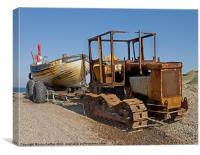 Weybourne - Rusty Beach tractor & fishing boat, Canvas Print