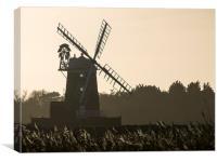 Cley Windmill Silhouhette - North Norfolk, Canvas Print