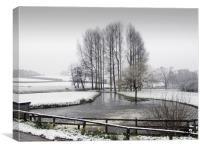 The Mill Pond and the Snowfall, Canvas Print
