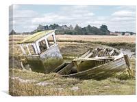 Old Abandoned Boat at Thornham North Norfolk , Canvas Print