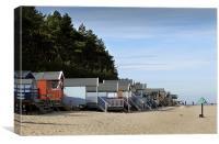 Beach Huts on the Beach at Wells next the Sea, N, Canvas Print