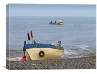 Crab and Lobster Fishing Boat Coming ashore Weybou, Canvas Print
