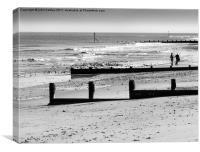 Walkers on Cromer Beach Norfolk - monochrome, Canvas Print