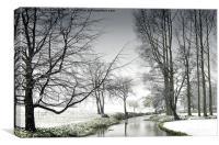 Snowfall at the River Wensum Norfolk, Canvas Print