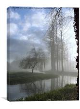River in the Mist - Poplar Trees and the River Wen, Canvas Print