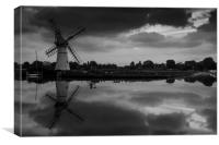 Thurne Windmill in mono, Canvas Print