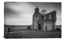 Baconsthorpe Castle in black and white, Canvas Print