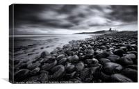 Dunstanburgh Boulders Black and White, Canvas Print