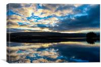 Sunset over Burnhope Reservoir., Canvas Print