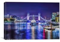 Tower Bridge illuminated, Canvas Print