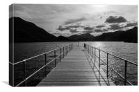 Aira Force Pier, with silohuettes of near and dist, Canvas Print