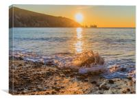 Winter sun setting at Alum Bay, Canvas Print