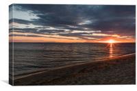 Perfect warm beach sunset, Canvas Print