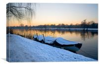 Snow covered boat, Canvas Print