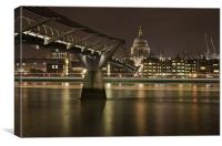 Millenium Bridge & St pauls Cathedral, Canvas Print