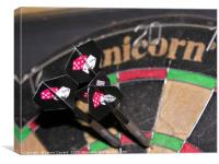 Darts on a dart board, Canvas Print