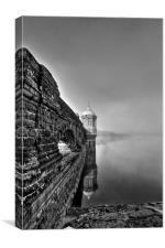 Craig Goch Mist Monochrome, Elan valley, Canvas Print