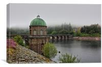 Elan Valley Foel Tower with heather touches, Canvas Print