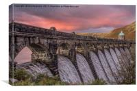 Elan Valley, Craig Goch, Sunset pinks, Canvas Print