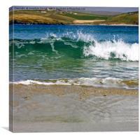 Spiggie beach, Shetland Wave Split, Canvas Print