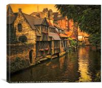 Dusk Colours of Bruges, Canvas Print