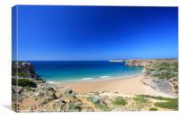 Praia do Beliche near Sagres on the Algarve, Portu, Canvas Print