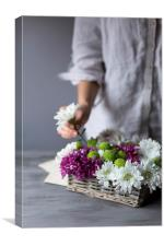 Flower basket, Canvas Print