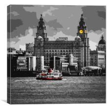 The Liver Building and the River Mersey, Canvas Print