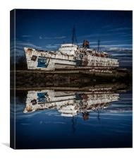 Reflections from the Duke of Lancaster Ship , Canvas Print