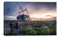 Sunset looking out across the coast of Heswall , Canvas Print