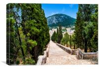 The decent on the Calvari Steps in Pollenca, Canvas Print