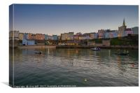 Tenby Harbour at Sunset, Canvas Print