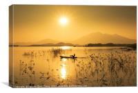Fishermen in Dong Mo Lake, Canvas Print