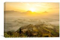 Dawn on Hoang Su Phi district, Ha Giang, Vietnam, Canvas Print