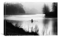 Early Morning Rowers on River Dart, Canvas Print